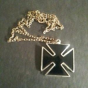 Black Enamel Cross Necklace